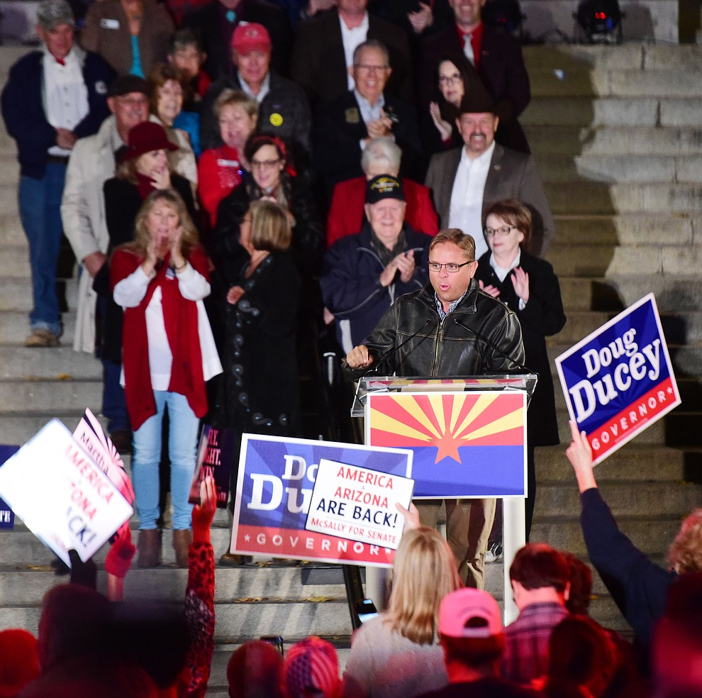 Arizona Republican Party Chairperson Jonathan Lines opens speaks during a Republican rally on the Yavapai County Courthouse steps Monday, Nov. 5, 2018 in Prescott.  (Les Stukenberg/Courier).
