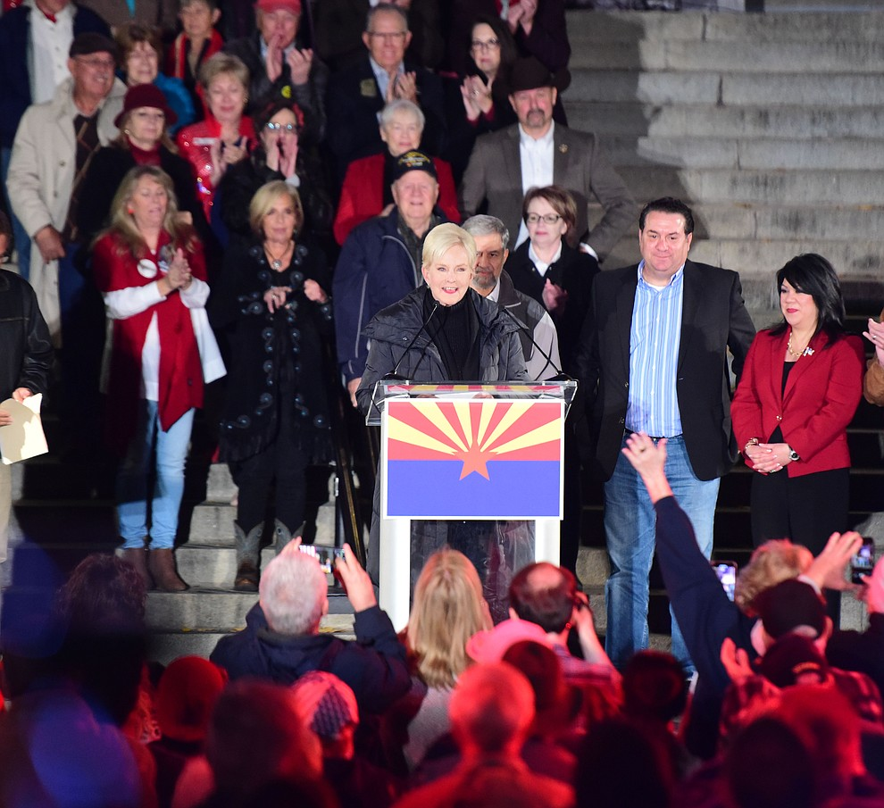 Cindy McCain speaks during a Republican rally on the Yavapai County Courthouse steps Monday, Nov. 5, 2018 in Prescott.  (Les Stukenberg/Courier).