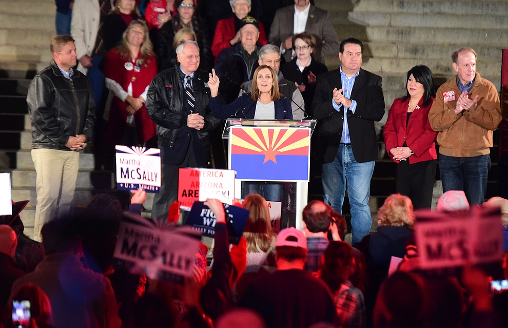 United States Senate candidate Martha McSally speaks during a Republican rally on the Yavapai County Courthouse steps Monday, Nov. 5, 2018 in Prescott.  (Les Stukenberg/Courier).