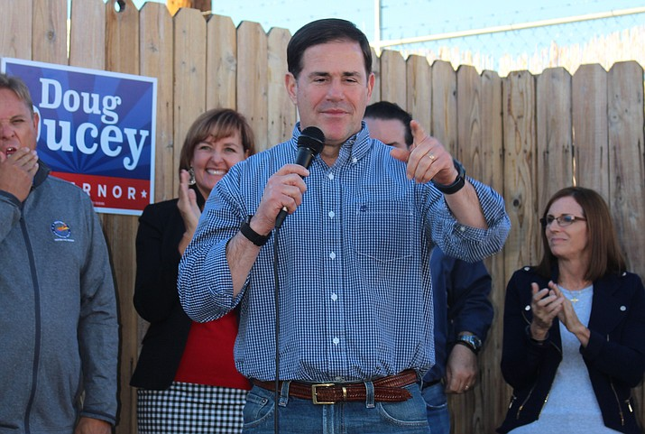 Arizona Gov. Doug Ducey appeals to Republican supporters to get out the vote for Tuesday's general election during a 'Victory Tour' stop in Kingman Monday. (Photo by Hubble Ray Smith/Daily Miner)