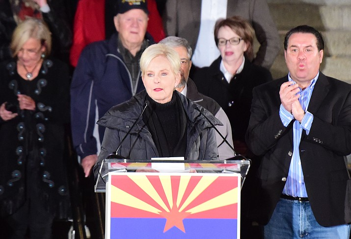 Cindy McCain speaks during a Republican rally on the Yavapai County Courthouse steps Monday, Nov. 5, 2018 in Prescott. (Les Stukenberg/Courier)