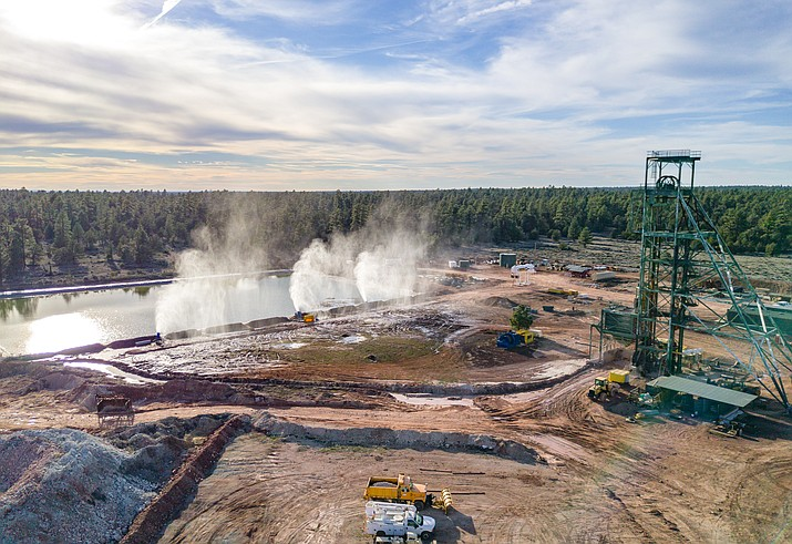 Canyon Mine uses water cannons to evaporate water from its holding pond near the mine shaft.  (Blake McCord/Grand Canyon Trust)