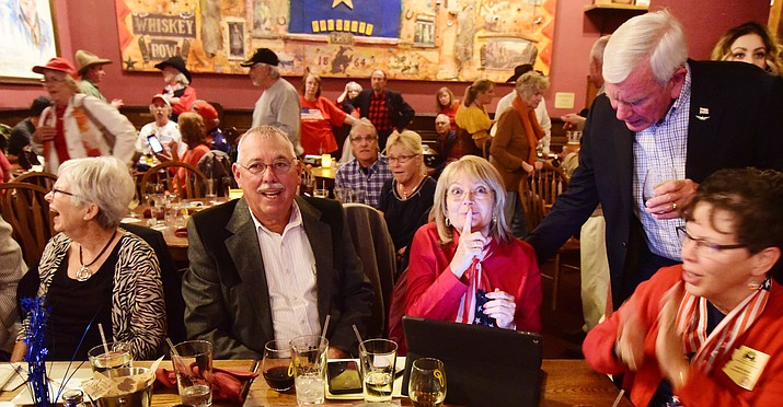 Arizona State Senator Karen Fann is quietly optimistic as early returns come in during a Republican election night party at the Palace Restaurant & Saloon Tuesday, Nov. 6, 2018 in Prescott.  (Les Stukenberg/Courier).