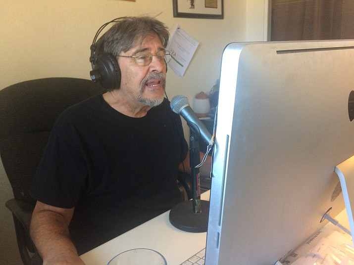 """Tom Agostino recording for """"The Folk Sessions"""" at his home in Chino Valley. (Jason Wheeler/Review)"""