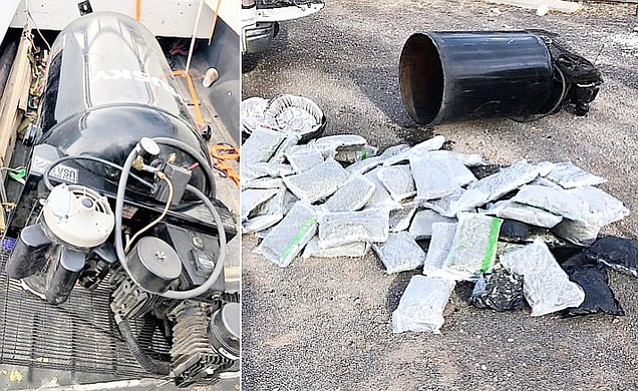 More than 70 pounds of marijuana was found inside an air compressor tank that was in the bed of a truck traveling along I-40 near Ash Fork Oct. 29. (YCSO)