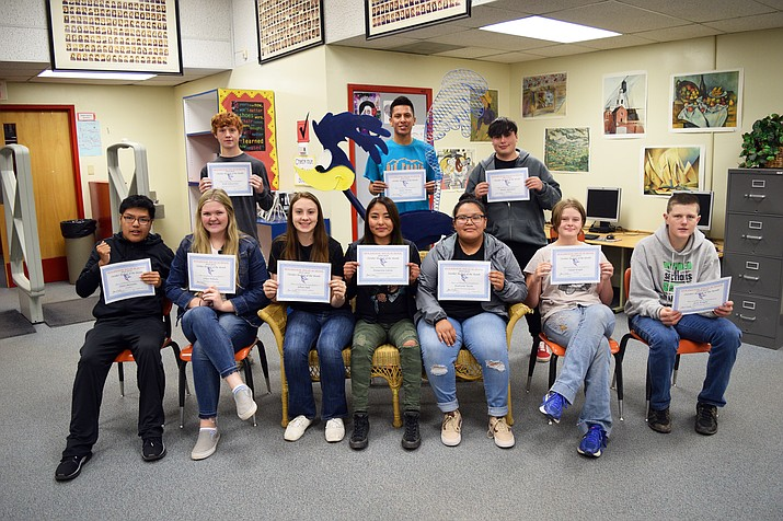 Holbrook High School recently announed the October Students of the Month. Seated from left: Dylan Manuelito (fine arts); Ashlyn Wilhelm (science); Jyllian Hall (female scholar-athlete); Emmarosa Catron (CTE); Kialonnie Yazzie (social studies); Nataly Knight (health education); and Jesse Knight (CTE). Standing from left: Keith Scheuerman (CTE); Tynen Thomas (male scholar-athlete); and Xavier Agramont (language arts). Not pictured: Amy Nilsson (English); Simon Liu (math); Nizhonii Thomas-Parker (CTE); Makayla Montijo (principal's selection); and James Wilkinson (NAVIT). (Submitted photo)