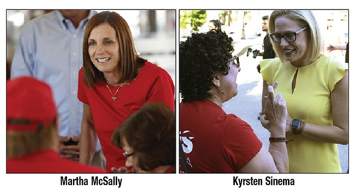 Martha McSally, left, speaks with voters Tuesday, Nov. 6, 2018, in Chandler. Kyrsten Sinema talks to a voter at a get-out-the-vote event Saturday, Nov. 3, in Phoenix. (AP photos)