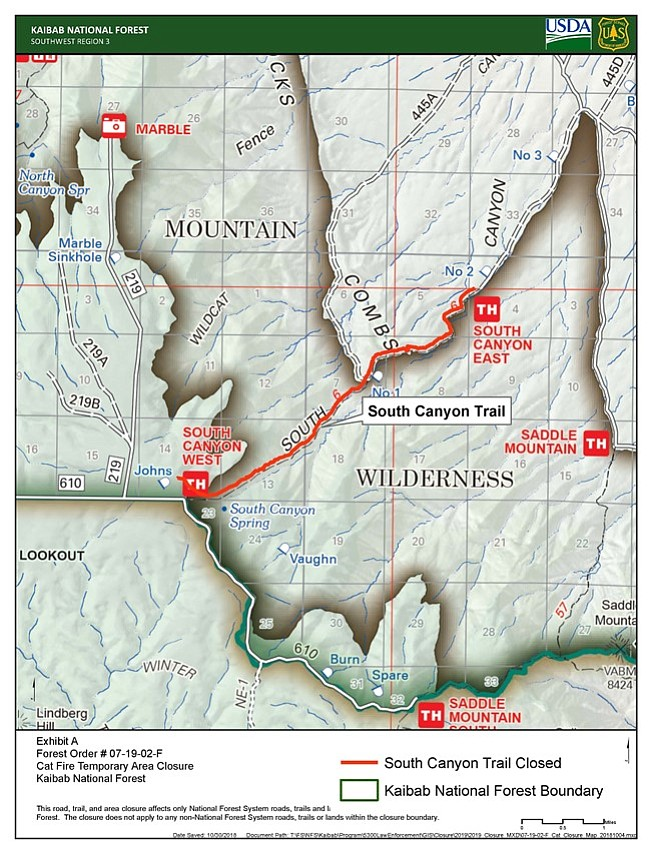 South Mountain Trail on the North Kaibab Ranger District will remain closed through spring of 2019. (Map/Kaibab National Forest)