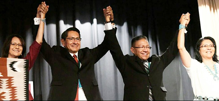 Jonathan Nez (second from left) was elected president of the Navajo Nation Nov. 6, defeating Joe Shirley by more than 19,000 votes. (Photo courtesy of Navajo Nation Presidential Election 2018)