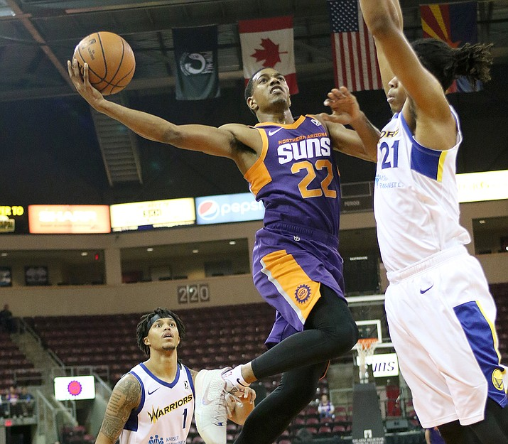 De'Anthony Melton (22) goes hard to the rim against the Santa Cruz Warriors on Nov. 3, 2018, in Prescott Valley. Melton recorded a triple-double with 19 points, 13 assists and 10 rebounds in a 106-95 win over Iowa on Tuesday, Nov. 6, 2018, in Des Moines, Iowa. (NAZ Suns/Courtesy)