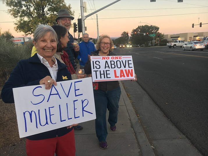 Bevery Hedden and Shelley Haiken protest outside the Cottonwood Walgreens as part of a nationwide protest calling on Congress to protect the Mueller investigation. VVN/Kelcie Grega