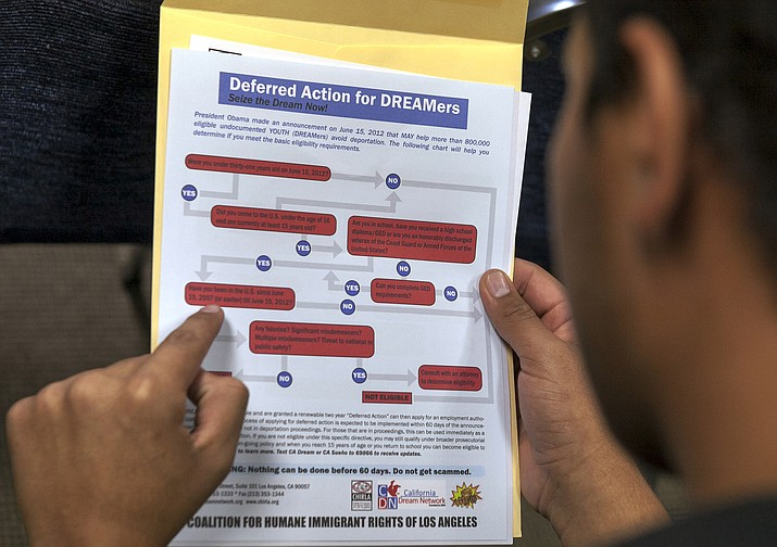 A legal immigrant reads a guide of the conditions needed to apply for Obama-era Deferred Action for Childhood Arrivals (DACA) program Aug. 15, 2012, at the Coalition for Humane Immigrant Rights, CHIRLA offices in Los Angeles. (Damian Dovarganes/AP, File)