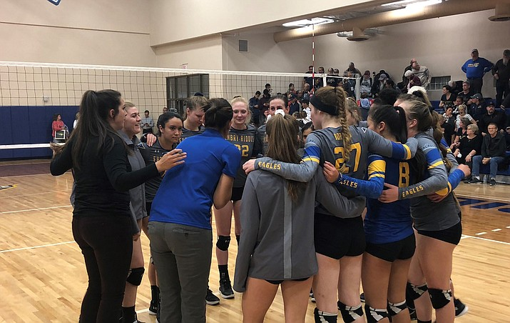 Embry-Riddle head coach Jill Blasczyk, center, talks to her club after a 3-0 sweep of UC-Merced in the Cal Pac Conference Tournament semifinals Thursday, Nov. 8, 2018, in Prescott. (Chris Whitcomb/Courier)