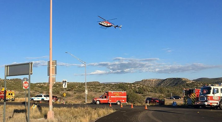 A medical helicopter lands on SR89A Thursday afternoon at the scene of a car accident  at Page Springs Road. VVN/Vyto Starinskas