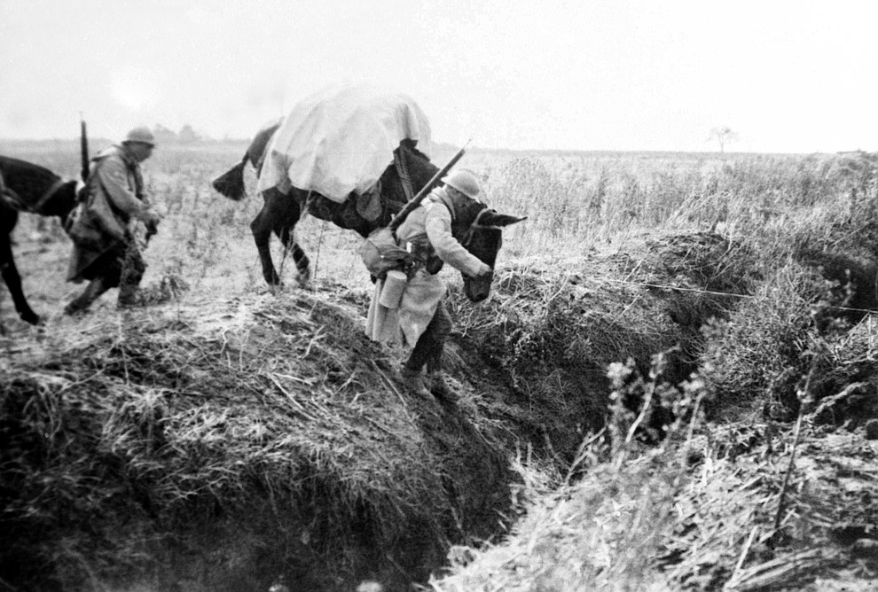 FILE - This undated file photo shows machine gunners with mules crossing a trench in France during WWI. They were messengers, spies, sentinels and the heavy haulers of World War I, carrying supplies, munitions and food and leading cavalry charges. The horses, mules, dogs and pigeons were a vital part of the Allied war machine, saving countless lives _ and dying by the millions. (AP Photo, File)