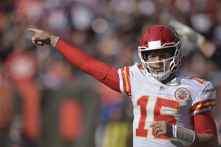 Kansas City Chiefs quarterback Patrick Mahomes was in action Nov. 4, 2018, against the Cleveland Browns. After years of declines, NFL television ratings are showing modest gains. (David Richard/AP, File)