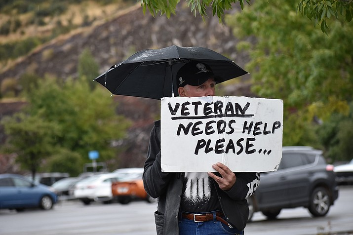 A veteran asks for help in the Prescott area. (Photo by Richard Haddad/WNI with permission from the veteran)