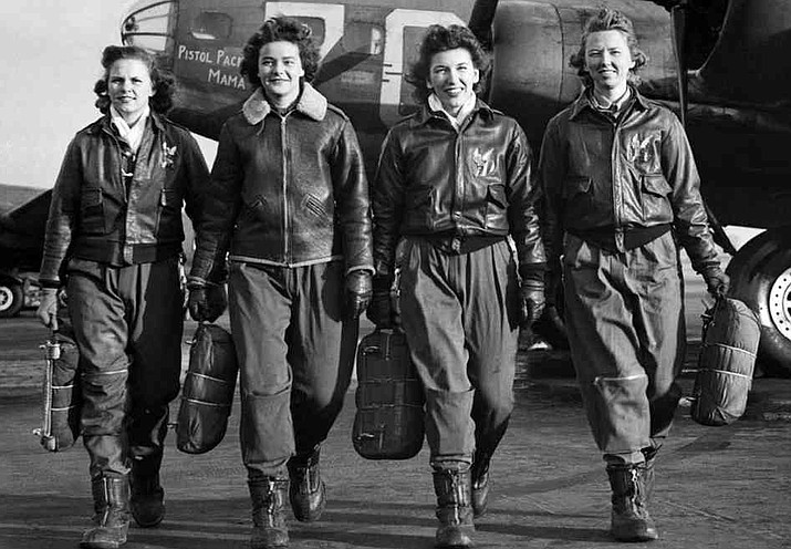 Women Airforce Service Pilots Frances Green, Margaret Kirchner, Ann Waldner and Blanche Osborne at the four-engine school at Lockbourne Army Airfield, Ohio, with a Boeing B-17 Flying Fortress heavy bomber, circa 1943. (U.S. Air Force)