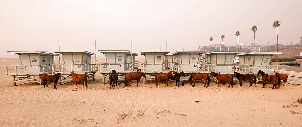 Horses are tied to lifeguard booths on the beach in Malibu, Calif., Saturday, Nov. 10, 2018. Wildfires are burning in both Southern and Northern California. (AP Photo/Ringo H.W. Chiu)