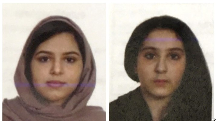 These two undated file photos provided by the New York City Police Department (NYPD) show sisters Rotana, left, and Tala Farea, whose fully clothed bodies, bound together with tape and facing each other, were discovered on on the banks of New York City's Hudson River waterfront on Oct. 24, 2018. The apparent suicide the sisters highlights the often secretive and risky attempts by Saudi women trying to flee abusive families. (NYPD)