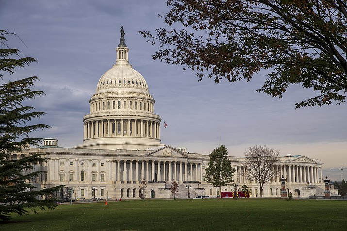 The Capitol is seen in Washington, Monday, Nov. 12, 2018, before Congress returns to work Tuesday for the first time following the midterm elections. (J. Scott Applewhite/AP)