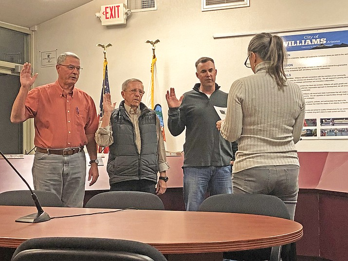 Don Dent, Bernie Hiemenz and Lee Payne are sworn in for new terms with the Williams City Council Nov. 8.  (Wendy Howell/WGCN)