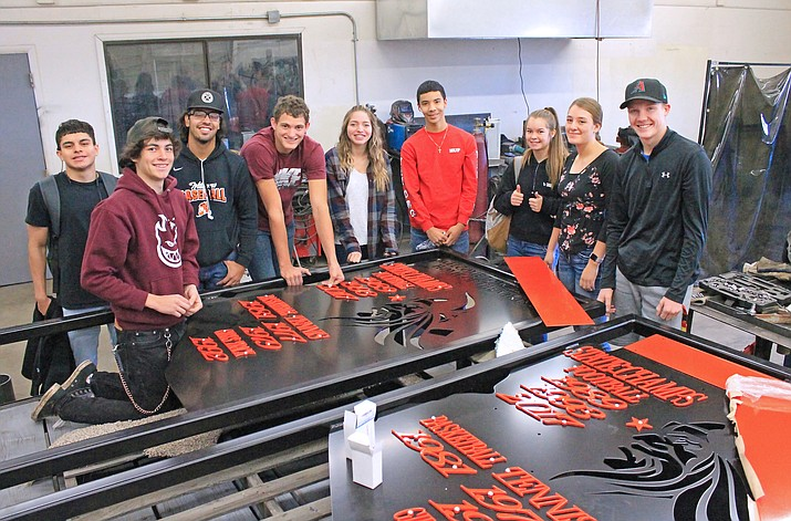 Steve Schober's welding students fabricated and welded the new Williams Vikings signs that will be placed on the three entrances to town. Welders include: Jovanny Martinez, Frankie Kramer, Joe Zabala, Will McMenamin, Loren Chism, Luis Urias, Madi Olsen, Amaryssa Orozco andCKarsten Brinkworth. (Wendy Howell/WGCN)