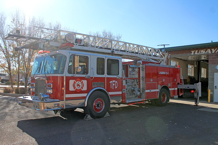 The Tusayan Fire Department recently purchased Big Red, a 40,000-pound ladder apparatus. The 1992-model ladder truck will replace the previous truck, which blew its engine over the summer. (Erin Ford/WGCN)