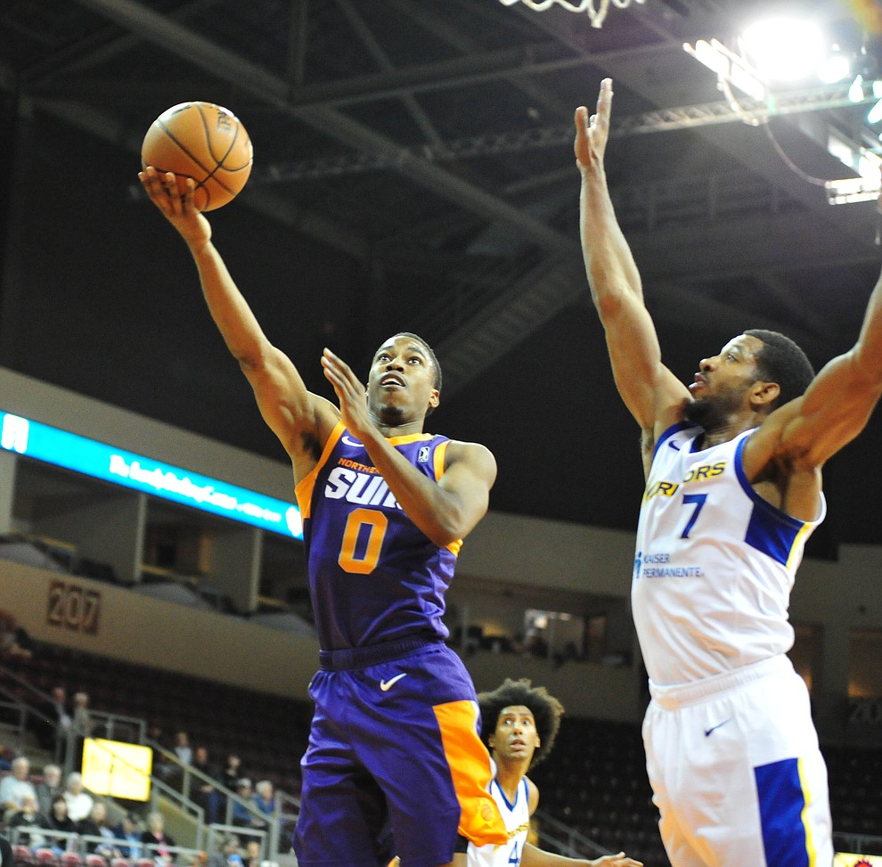 Northern Arizona's Daniel Dixon sends up a shot as the Suns play the Santa Cruz Warriors  Tuesday, Nov. 13, 2018 at the Prescott Valley Event Center.  (Les Stukenberg/Courier).