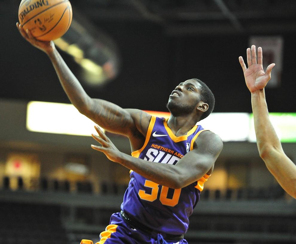 Northern Arizona's Jawun Evans lays up a basket as the Suns play the Santa Cruz Warriors  Tuesday, Nov. 13, 2018 at the Prescott Valley Event Center.  (Les Stukenberg/Courier).