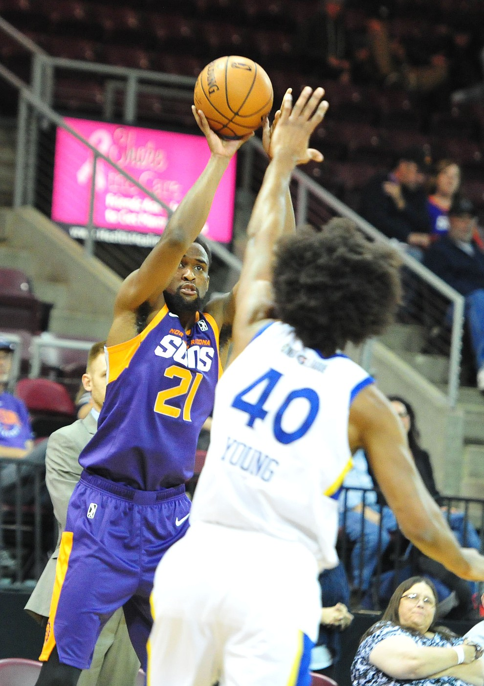 Northern Arizona's Aaron Epps sends up a three-pointer as the Suns play the Santa Cruz Warriors  Tuesday, Nov. 13, 2018 at the Prescott Valley Event Center.  (Les Stukenberg/Courier).