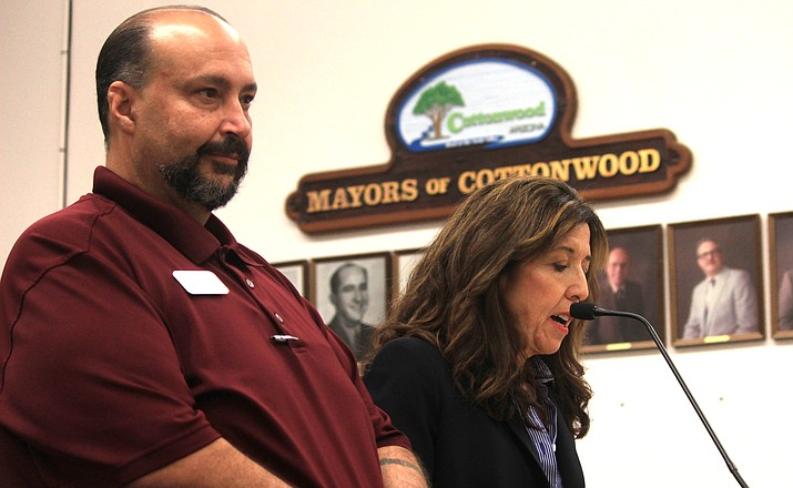 Cottonwood Chamber of Commerce President Christian Oliva del Rio and OTA Board President Brenda Clouston talk about the OTA's progress. VVN/Kelcie Grega