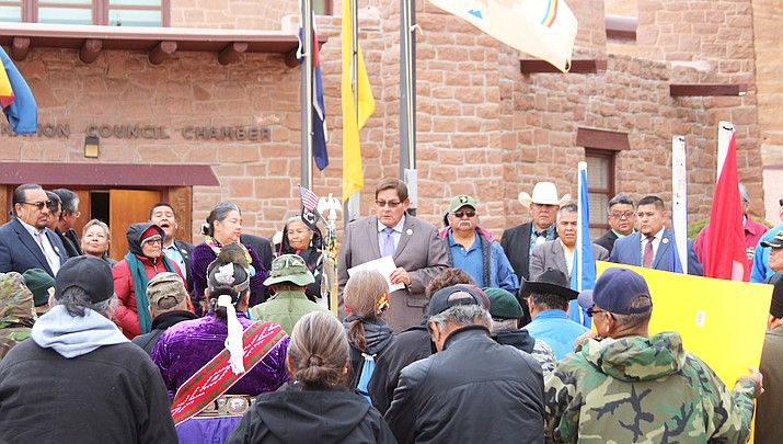 Navajo Nation Council Speaker LoRenzo Bates delivers Veterans Day message recognizing military members