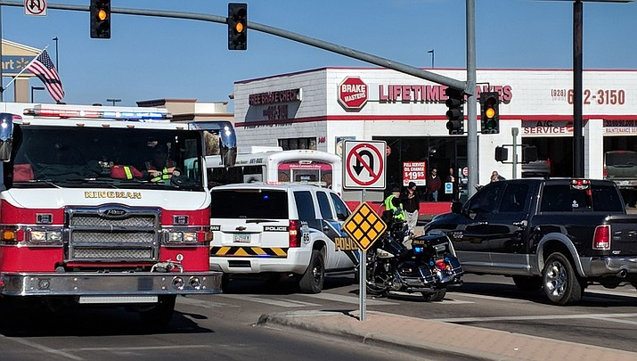 A serious injury crash occurred around noon Tuesday involving a 2015 maroon Chevrolet pickup truck and Harley Davidson motorcycle. (Photo by Travis Rains/Daily Miner)