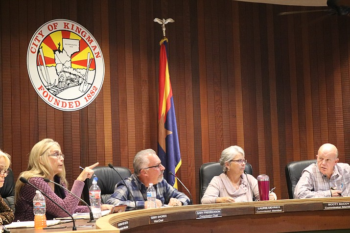 The Planning and Zoning Commission deliberated on how to better inform citizens about shed setback requirements at its meeting Tuesday. (Photo by Travis Rains/Daily Miner)