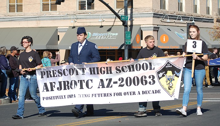 The Prescott High School Air Force JROTC was selected as the winning entry in the Fraternal/Military Organization category for the Veterans Day Parade on Saturday, Nov. 10. (Tim Wiederaenders/Courier)