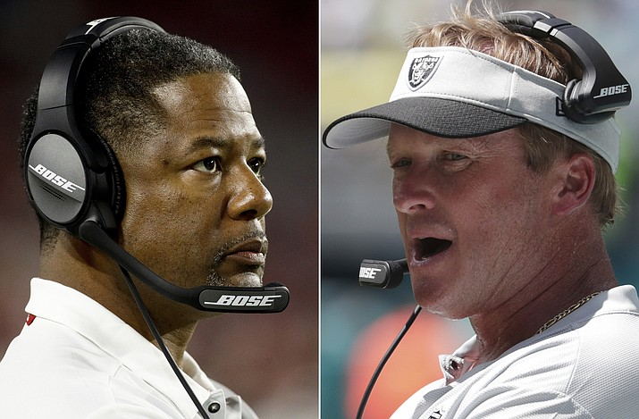 At left, in an Aug. 30, 2018, file photo, Arizona Cardinals head coach Steve Wilks watches during the first half of a preseason NFL football game against the Denver Bronco's, in Glendale, Ariz. At right, in a Sept. 23, 2018, file photo, Oakland Raiders head coach Jon Gruden walks the sideline during the first half of an NFL football game against the Miami Dolphins, in Miami Gardens, Fla. The Raiders, with the NFL's worst record at 1-8, drag a five-game losing streak into their game with the Arizona Cardinals, who at 2-7 are tied for the third-worst record in the league. (AP/File)