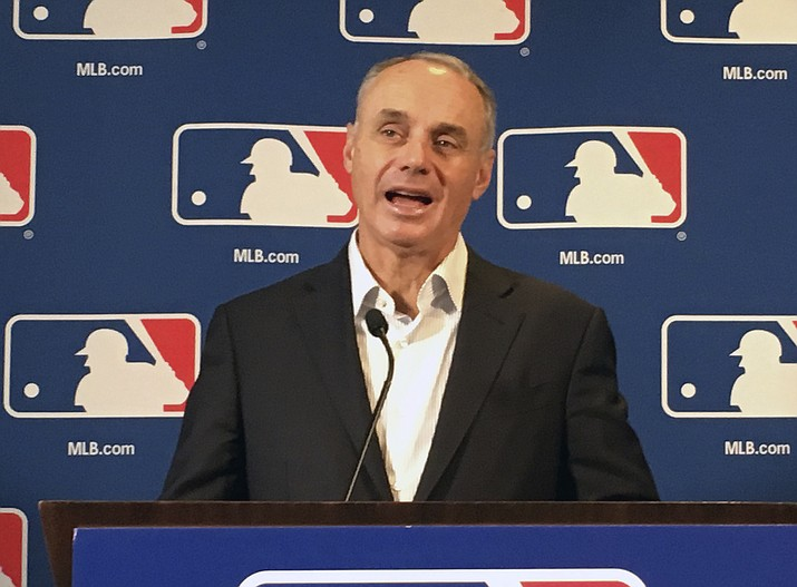 Major League Baseball commissioner Rob Manfred speaks at the baseball owners meeting in Atlanta, Thursday, Nov. 15, 2018. (Paul Newberry/AP)