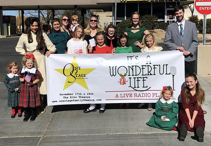 "The cast of the ""It's a Wonderful Life"" live radio play who marched in the Prescott Veterans Day Parade Saturday, Nov. 10. They'll perform in three showings at the Elks Theatre and Performing Arts Center this weekend. (Tamee Niekamp/Courtesy)"