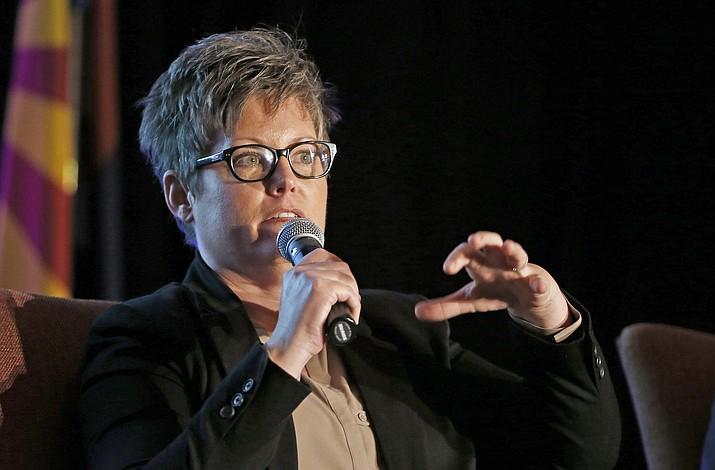 Katie Hobbs speaks at a luncheon Jan. 6, 2017, in Phoenix. (Ross D. Franklin/AP, file)