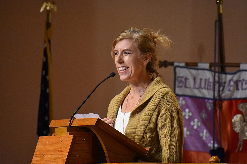 "Molly Friebott of Greater Yavapai County Coalition, Faith Bridge, speaks during the 2018 Celebration of Thanks concert held Thursday, Nov. 15 at St. Luke's Episcopal Church in Prescott. The annual event, called ""Many Voices of Thanks,"" brings together choirs, musicians, dancers and speakers from many faith beliefs and is sponsored by the Quad City Interfaith Council. (Richard Haddad/WNI)"