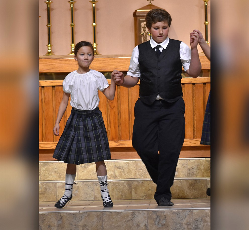 "Members of Sacred Heart Children's Irish Dancers perform during the 2018 Celebration of Thanks concert held Thursday, Nov. 15 at St. Luke's Episcopal Church in Prescott. The annual event, called ""Many Voices of Thanks,"" brings together choirs, musicians, dancers and speakers from many faith beliefs and is sponsored by the Quad City Interfaith Council. (Richard Haddad/WNI)"