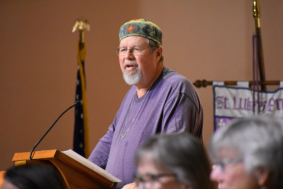 "Yaqin Lance Sandleben of Prescott Sufi Circle speaks during the 2018 Celebration of Thanks concert held Thursday, Nov. 15 at St. Luke's Episcopal Church in Prescott. The annual event, called ""Many Voices of Thanks,"" brings together choirs, musicians, dancers and speakers from many faith beliefs and is sponsored by the Quad City Interfaith Council. (Richard Haddad/WNI)"