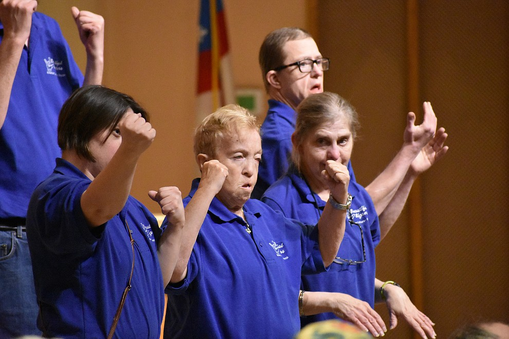 "The ""Beautiful Singers"" sign language choir from American Lutheran Church perform during the 2018 Celebration of Thanks concert held Thursday, Nov. 15 at St. Luke's Episcopal Church in Prescott. The annual event, called ""Many Voices of Thanks,"" brings together choirs, musicians, dancers and speakers from many faith beliefs and is sponsored by the Quad City Interfaith Council. (Richard Haddad/WNI)"