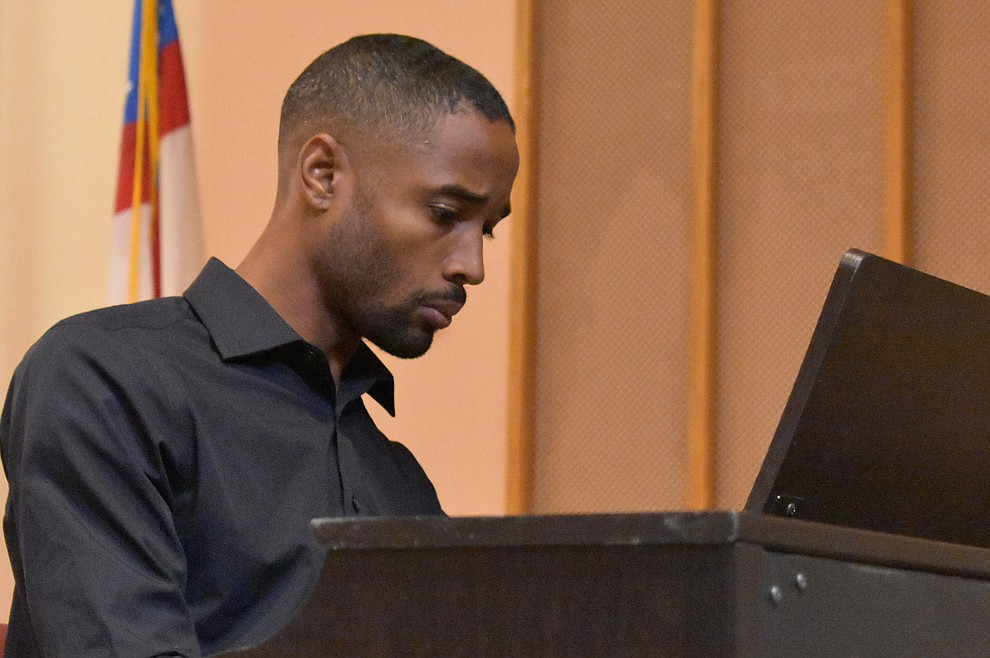 "Phillip Madison of St. Luke Ebony Choir plays the piano during the 2018 Celebration of Thanks concert held Thursday, Nov. 15 at St. Luke's Episcopal Church in Prescott. The annual event, called ""Many Voices of Thanks,"" brings together choirs, musicians, dancers and speakers from many faith beliefs and is sponsored by the Quad City Interfaith Council. (Richard Haddad/WNI)"