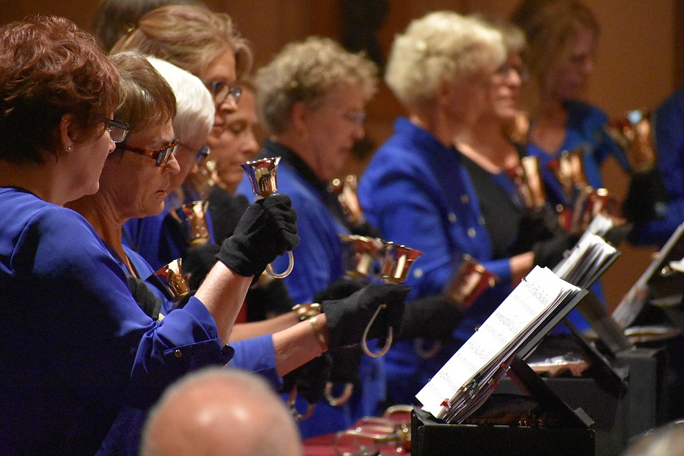 "The St. Luke's Episcopal Church Bell Choir performs during the 2018 Celebration of Thanks concert held Thursday, Nov. 15 at St. Luke's Episcopal Church in Prescott. The annual event, called ""Many Voices of Thanks,"" brings together choirs, musicians, dancers and speakers from many faith beliefs and is sponsored by the Quad City Interfaith Council. (Richard Haddad/WNI)"