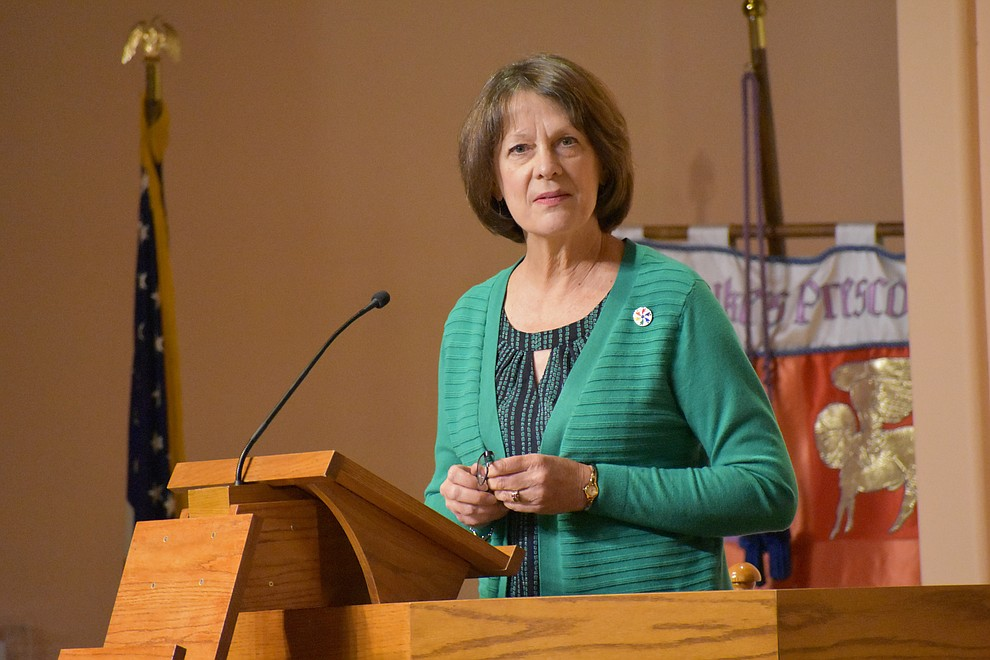 "Interfaith Rev. Linda Guy recites the ""Prayer of St. Francis"" during the 2018 Celebration of Thanks concert held Thursday, Nov. 15 at St. Luke's Episcopal Church in Prescott. The annual event, called ""Many Voices of Thanks,"" brings together choirs, musicians, dancers and speakers from many faith beliefs and is sponsored by the Quad City Interfaith Council. (Richard Haddad/WNI)"
