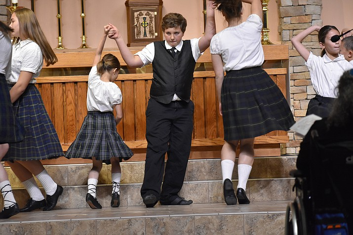 "Members of Sacred Heart Children's Irish Dancers perform during the 2018 Celebration of Thanks concert held Thursday, Nov. 15 at St. Luke's Episcopal Church in Prescott. The annual event, called ""Many Voices of Thanks,"" is sponsored by the Quad City Interfaith Council. See photo gallery at: http://ow.ly/kAX530mERpq"