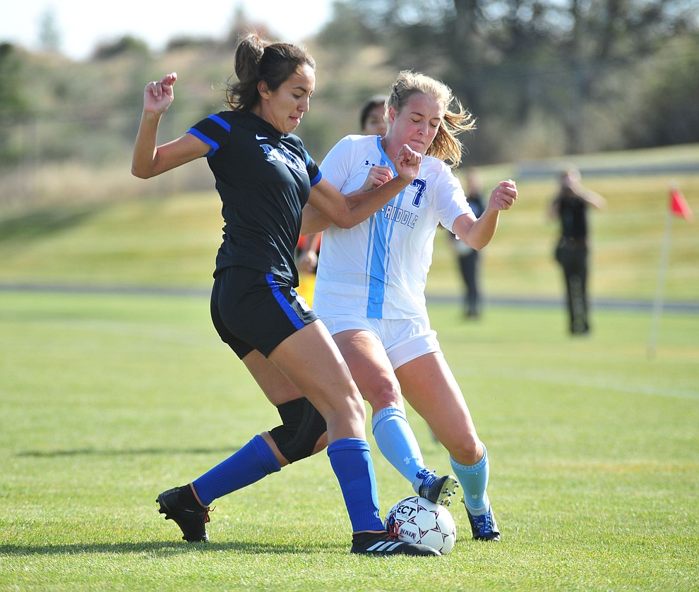 Embry Riddle's Erica Heil battles for the ball as the Eagles take on Hope International in the first round of the NAIA National Championship Tournament in Prescott Saturday, November 17, 2018. (Les Stukenberg/Courier).