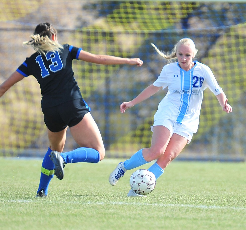 Embry Riddle's Andie Dean maneuvers the ball as the Eagles take on Hope International in the first round of the NAIA National Championship Tournament in Prescott Saturday, November 17, 2018. (Les Stukenberg/Courier).